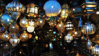 Seleccion-de-lamparas-en-el-mercado-de-Marrakech